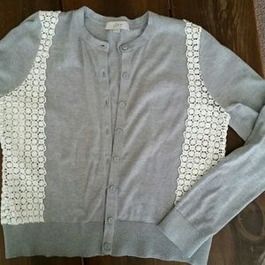LOFT Gray Cartigan Sweater Ivory Lace, Size M