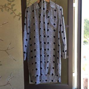 Diane von Furstenberg 100% Silk Button Down Dress