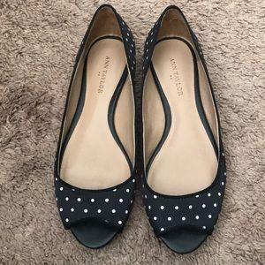 Black polka dot flats