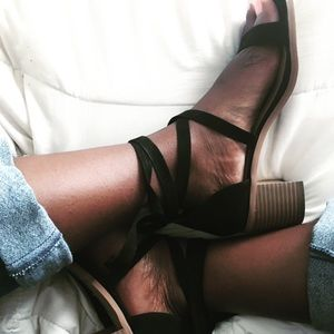 Forever 21 Lace Up Suede Heels