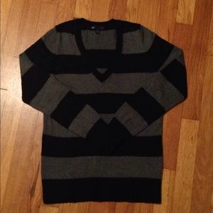 Gap Black and Gray Stripe Luxe Sweater