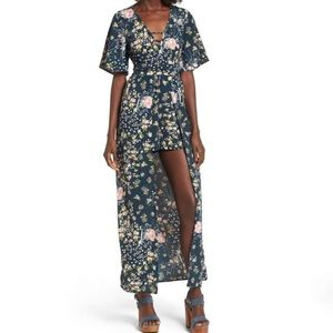Band of Gypsies Floral Print Maxi Romper XS
