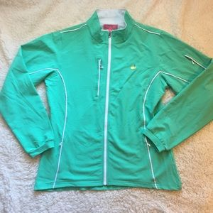 Masters zip up teal performance tech jacket