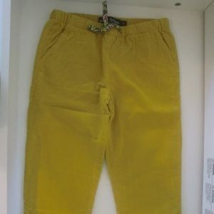 Mini Boden Yellow Corduroy Floral Cuff Pants 7Y
