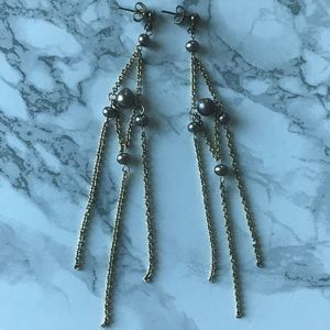 NWOT Gold Chandelier Earrings with Grey Pearls