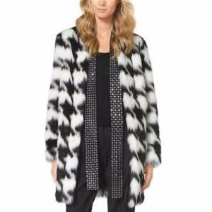 MICHAEL KORS Womens' Faux-Fur Houndstooth Coat XS