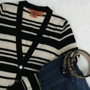 Tory Burch striped long cardigan