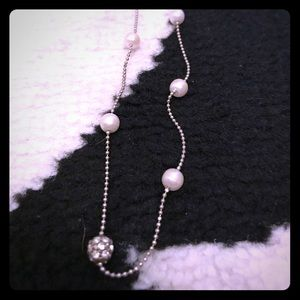 "Jewelry - 16"" necklace silver pearl and crystal"