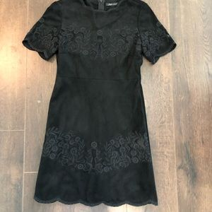 ZARA SUEDE BLACK DRESS WITH LACE DETAIL
