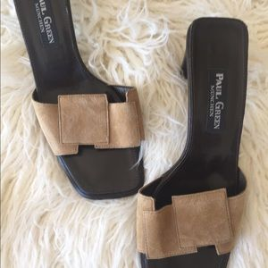 Paul Green Suede Leather Slides - Nearly New