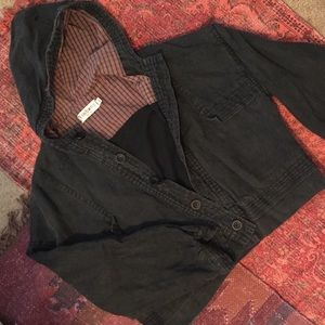 Vintage black jean w/ plaid hooded jacket
