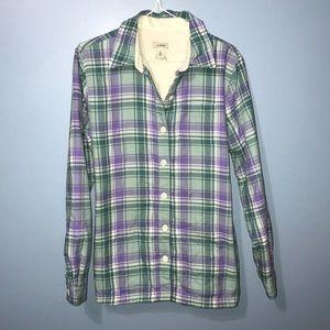 Women's XS fleece lined llbean flannel