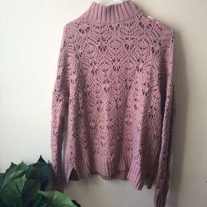 American Eagle Crochet Rose Turtleneck Sweater