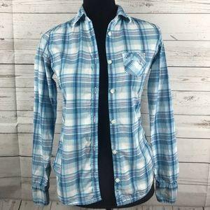 Juniors American Eagle ButtonUp Plaid Long Sleeve