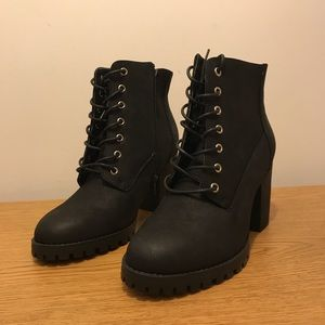 New Look black lace-up booties