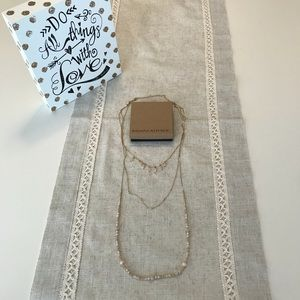 Banana Republic 3 tiered long statement necklace.