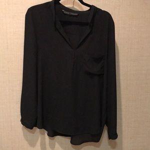 Zara black no wrinkle long sleeve blouse