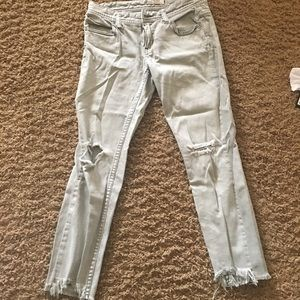 Free people grey skinny ripped jeans