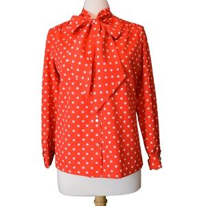 Vintage 60's/70's Polka-Dot Pussy Bow Blouse