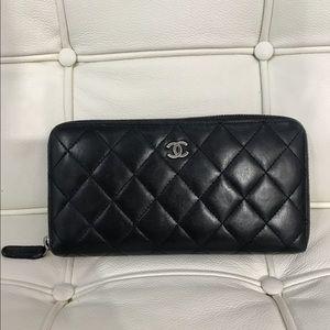 Chanel Black Calfskin Zip Around Wallet