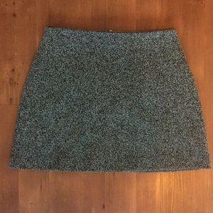 Topshop Gray Herringbone A-Line Skirt