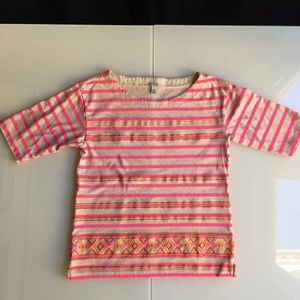 J. Crew Pink Neon Stripe Shirt