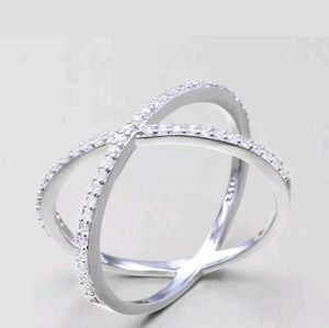 Sterling plated Cross ring with Czs