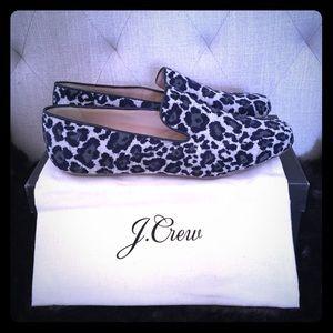 NIB J.Crew animal print loafers blu/black 8.5 $178