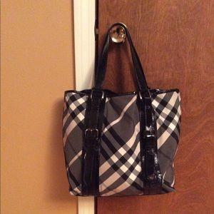 Burberry Black and White Beat Check Victoria Bag
