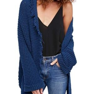 Free People NWT knitted cardigan sapphire size MA4