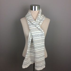 Talbots winter white print scarf