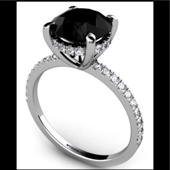 Macys Jewelry 2 Carat Black Diamond Solitaire Diamond Ring 6