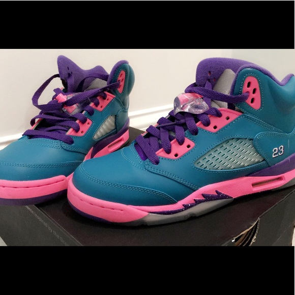 "3b3ca9a6dd37a8 Air Jordan Shoes - NIKE GIRLS AIR JORDAN 5 RETRO (GS) ""TROPICAL TEAL"