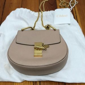 Chloe mini drew cement pink crossbody bag