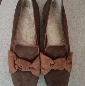 Brown suede ballet flats
