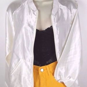 Women's American Apparel Cream Polyester Bomber