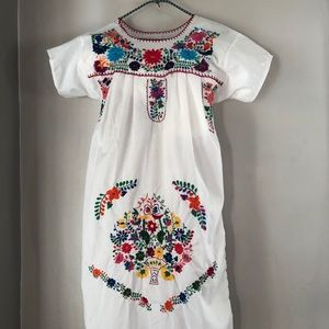 Vintage Embroidered Floral Folk Boho Dress