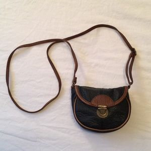 Brown and black small crossbody bag