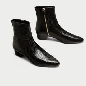 NWOT Zara faux leather embossed boots