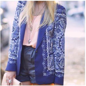 •Zara• Paisley Scarf Blazer