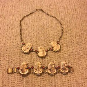 Antique pharaoh necklace and bracelet set