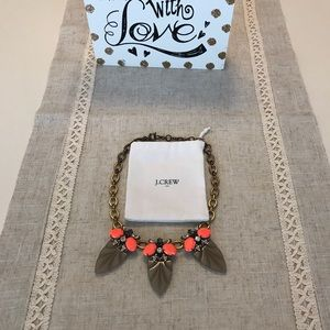 J .crew gold and bright coral statement necklace