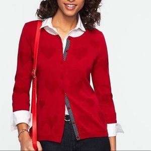 FINAL PRICE! NWOT Talbots Red Hearts Cardigan.