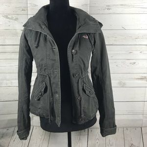 Women's Button Up Hollister Hooded Jacket Size XS