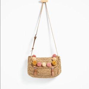 NWT ZARA raffia and pom-pons bag