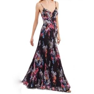 Nicole Miller Pleated Floral Sweetheart Maxi Gown