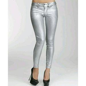 BEBE Silverado silver metallic skinny jeans