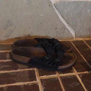 Black soft foot Birkenstocks