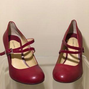 Red Leather Gianni Bini Mary Jane Heels
