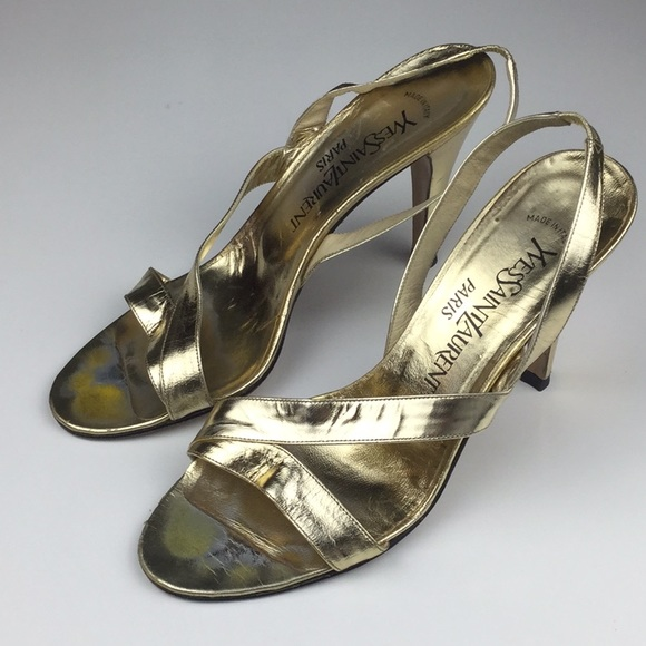 60695cacbcb Yves Saint Laurent Shoes | Ysl Vintage Gold Strappy Heels | Poshmark